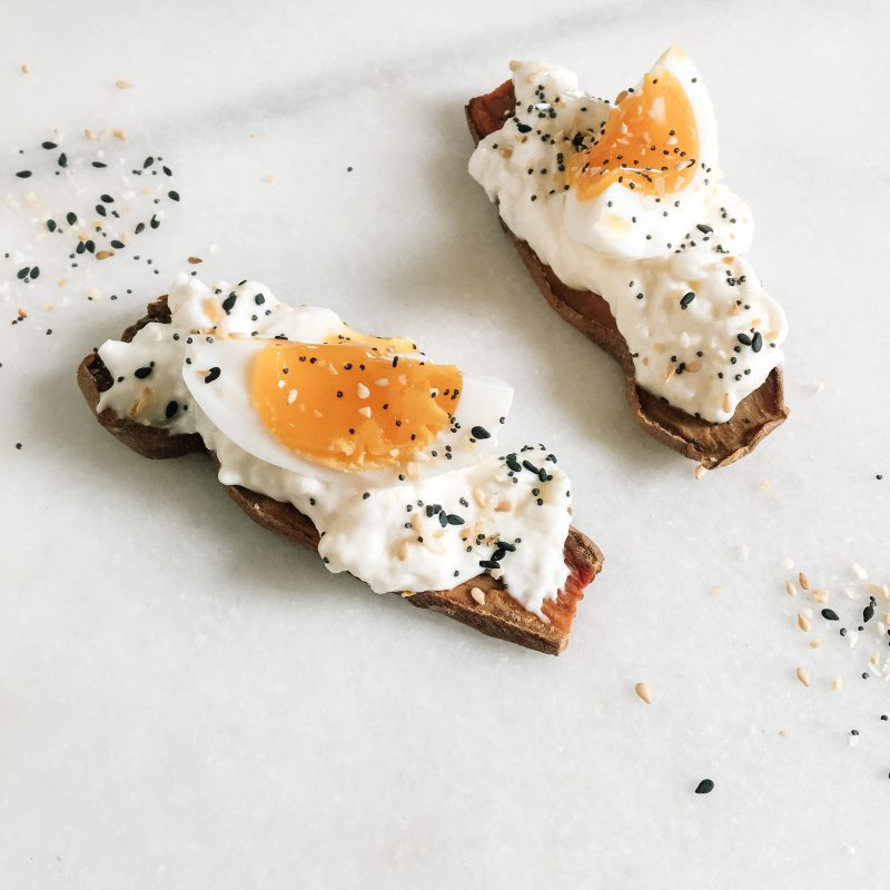 Sweet potato crostini with burrata and soft boiled egg and seasoning