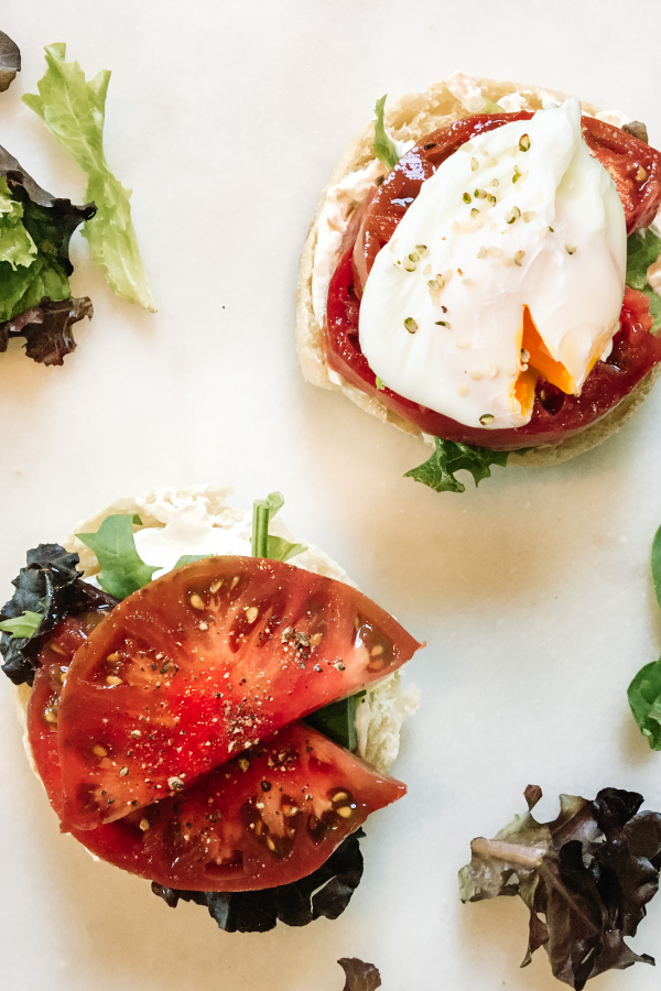 Caprese benedict with poached egg