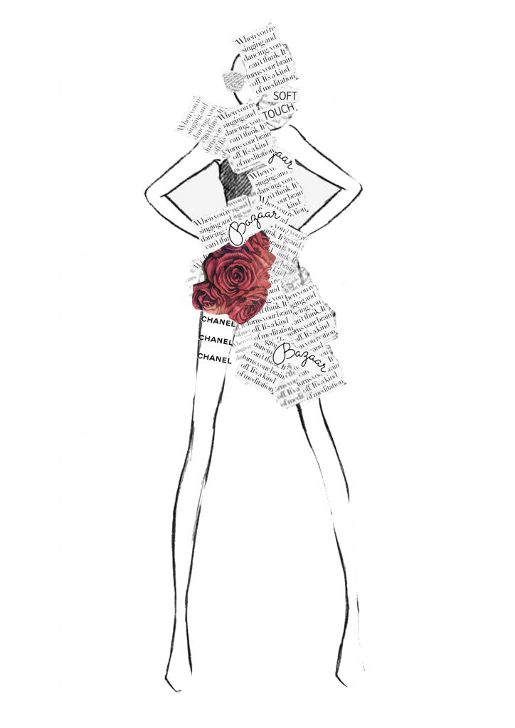 Chanel newspaper dress sketch