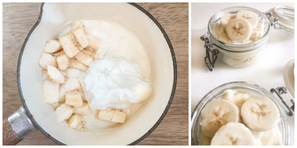 White chocolate banana pudding ingredients in pot and mini mason jars