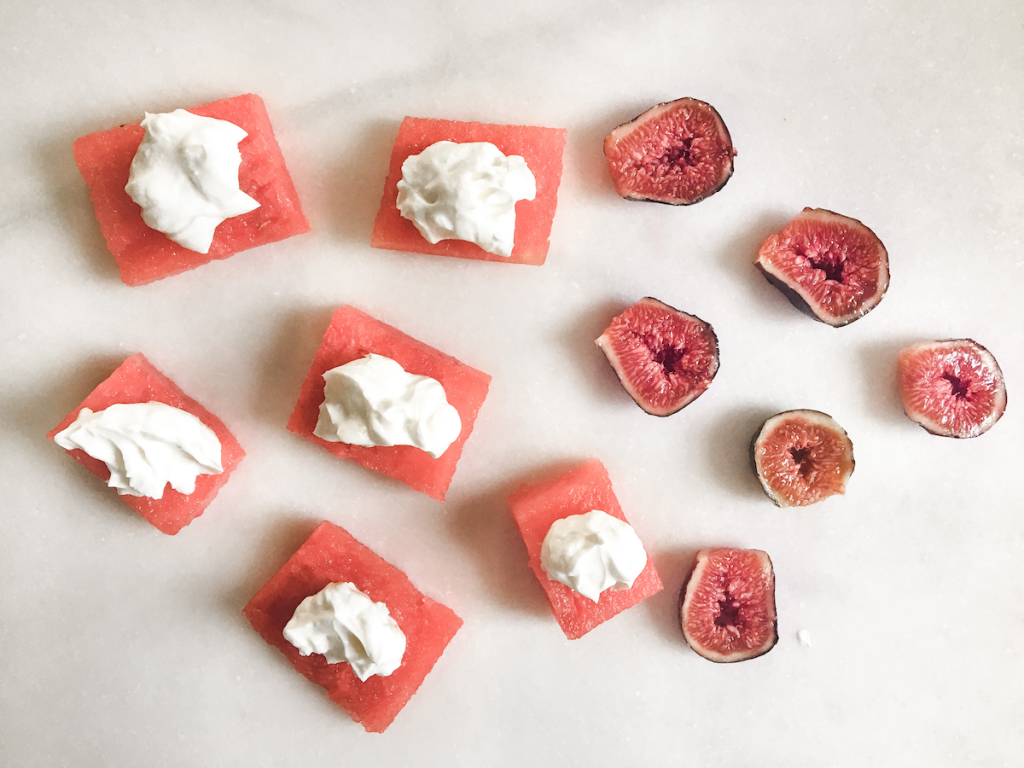 Fresh fig and watermelon bites deconstructed