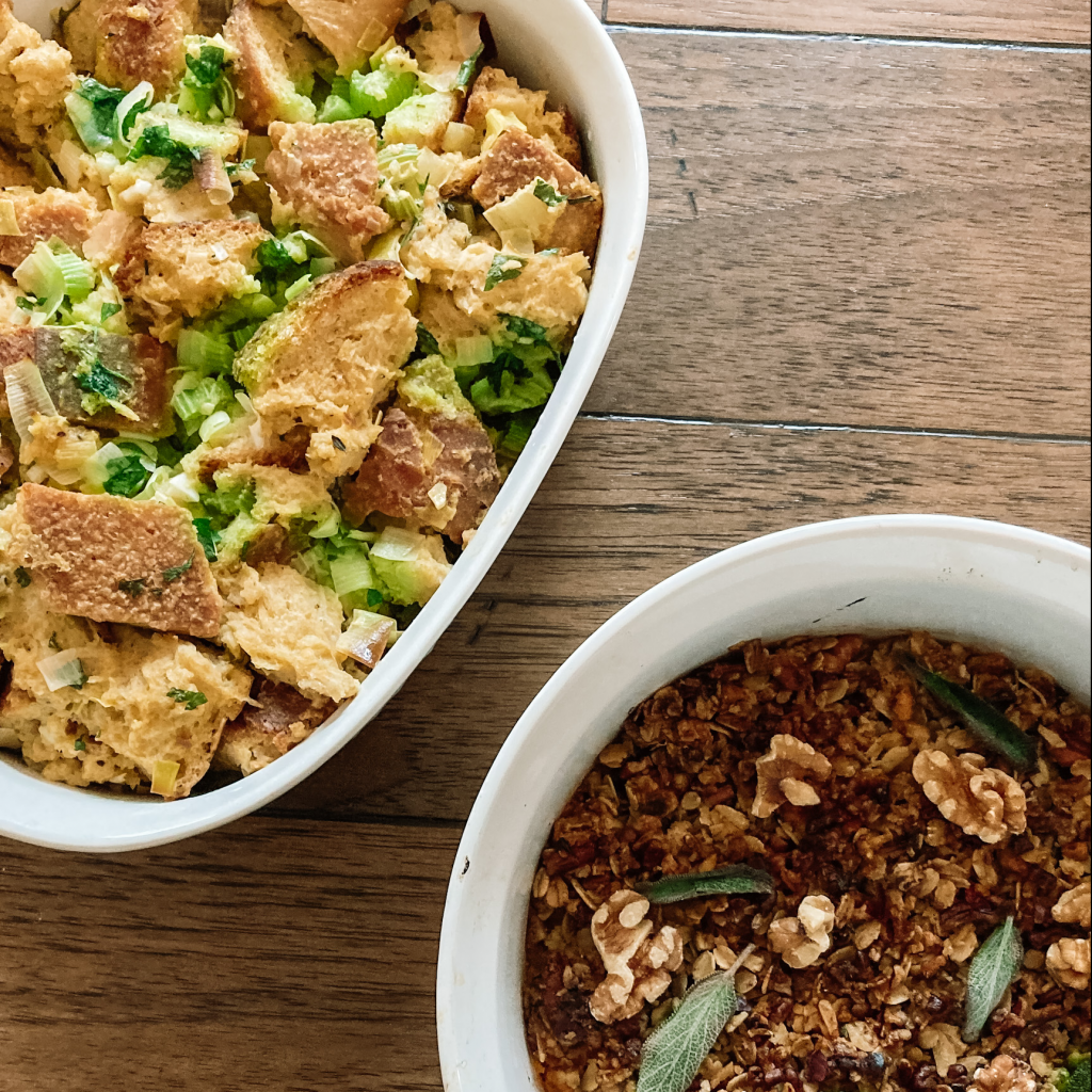 Chunky leek and butter stuffing