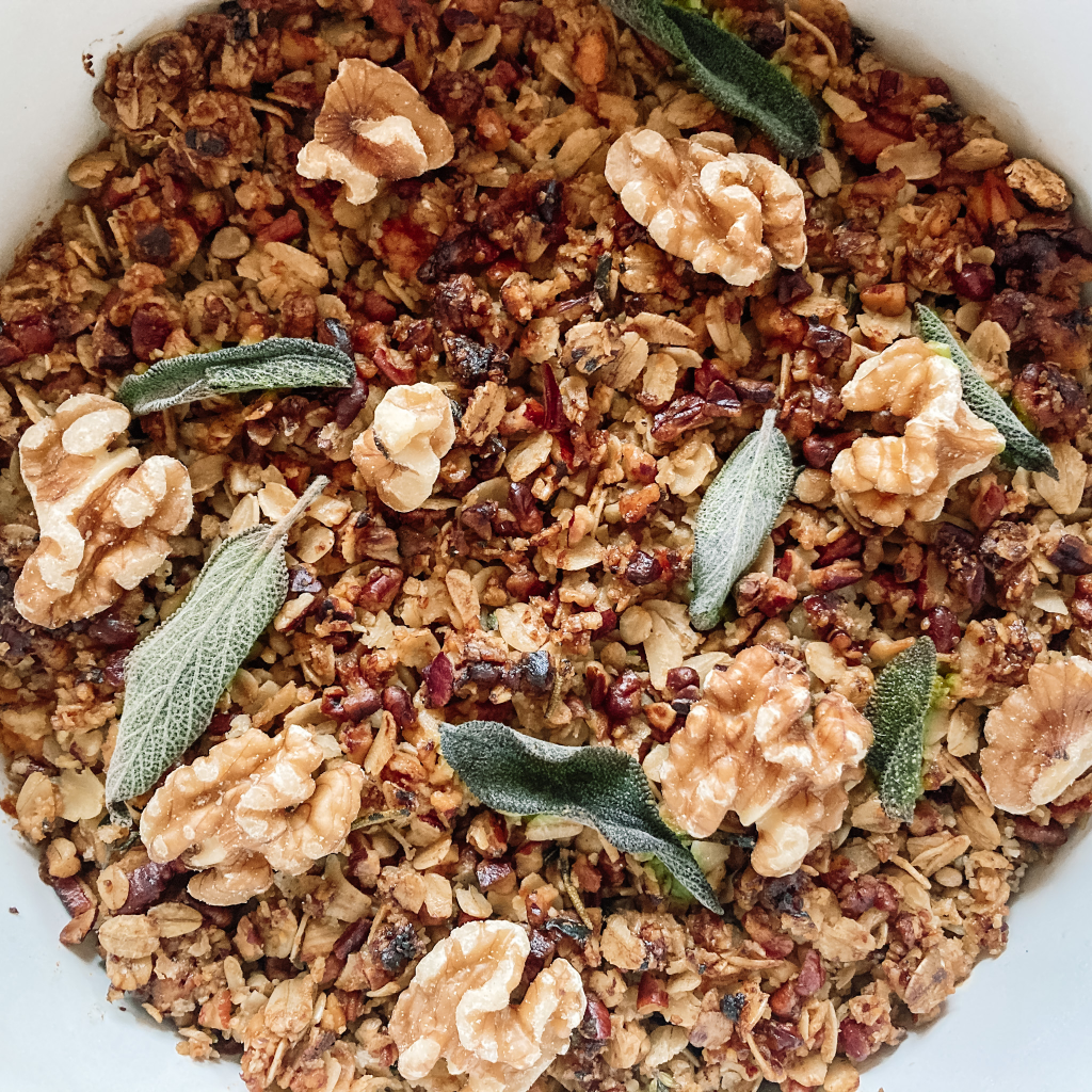 Sweet potato crumble with nuts and fired sage